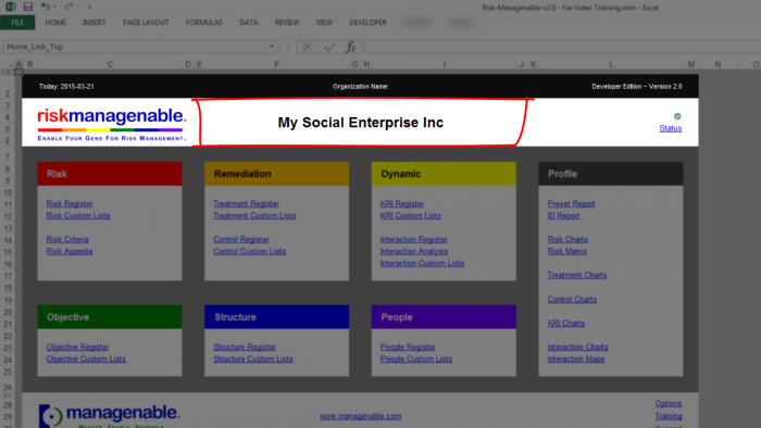 Risk Template in Excel - Organization Name: Social Enterprise