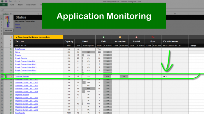 Risk Template in Excel with Status Monitoring: ID Incomplete