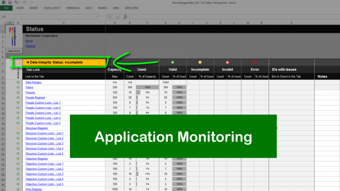 Risk Template in Excel with Status Monitoring: Overall