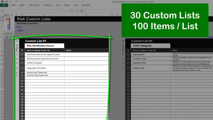 Risk Template in Excel: 30 Custom Lists with 100 Items Each