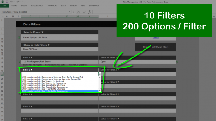 Risk Template in Excel with Risk Data Filters: 200 Options