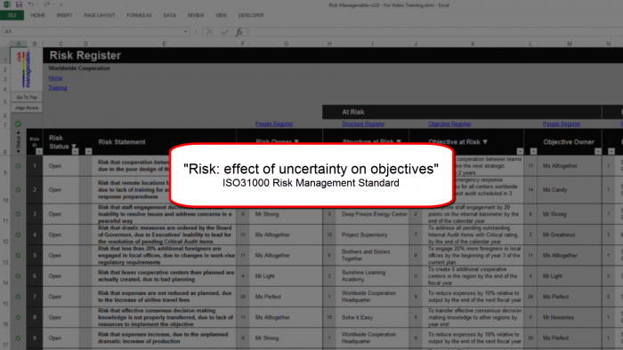 Risk Template in Excel - Risk Register with Risk: Effect Of Uncertainty On Objectives (ISO31000)