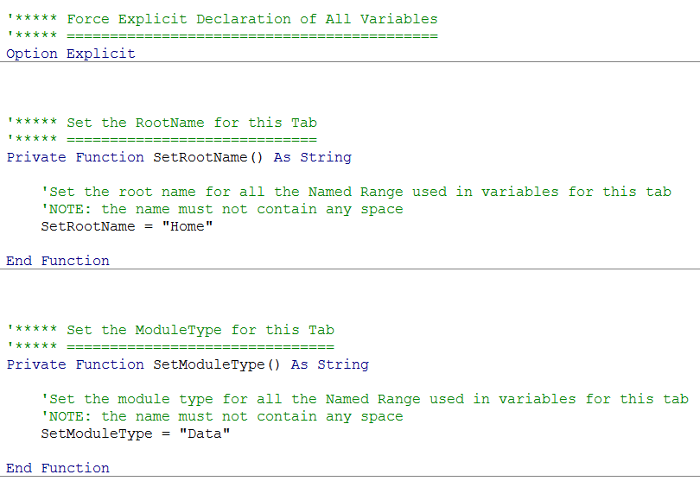 VBA Code readable and commented.