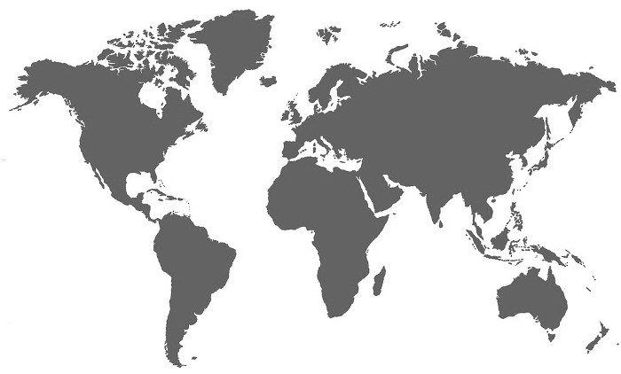 World map, grey colour
